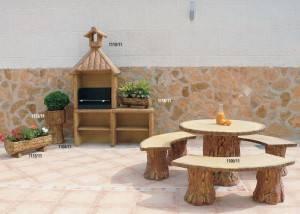 Conjunto jardín mesa de piedra