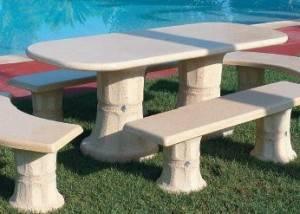 Conjunto mesa de piedra rectangular