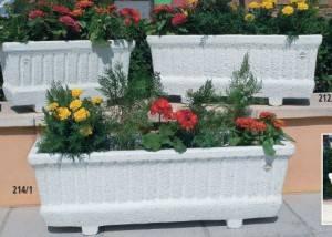 Jardinera rectangular de piedra para jardin serie