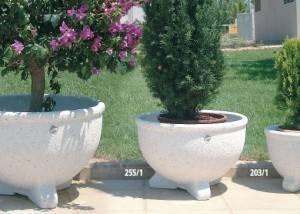 Jardinera de piedra cuenco liso