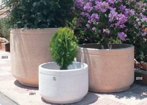 Jardinera de piedra cilindro liso