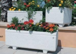 Jardinera de piedra lisa rectangular