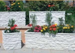 Jardinera rectangular de piedra para jardin