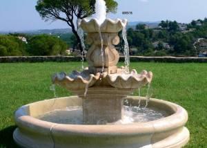 Fuente de piedra para jardín 2 alturas